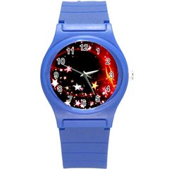 Circle Lines Wave Star Abstract Round Plastic Sport Watch (s)