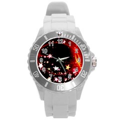 Circle Lines Wave Star Abstract Round Plastic Sport Watch (l)