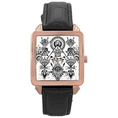 Ancient Parade Ancient Civilization Rose Gold Leather Watch