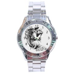 Stippling Drawing Dots Stipple Stainless Steel Analogue Watch
