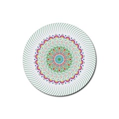 Flower Abstract Floral Rubber Coaster (round)