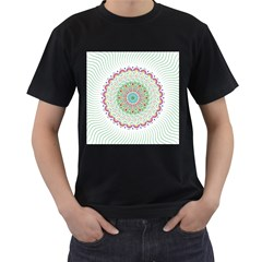 Flower Abstract Floral Men s T Shirt (black) (two Sided)