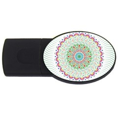 Flower Abstract Floral Usb Flash Drive Oval (4 Gb)