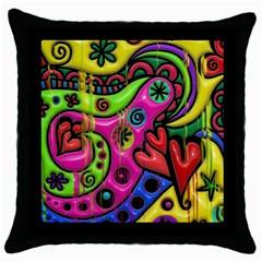 Seamless Texture Pattern Tile Throw Pillow Case (black)