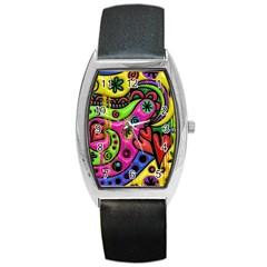 Seamless Texture Pattern Tile Barrel Style Metal Watch