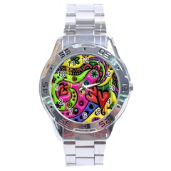 Seamless Texture Pattern Tile Stainless Steel Analogue Watch