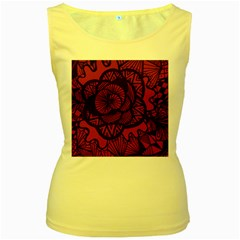 Background Abstract Red Black Women s Yellow Tank Top