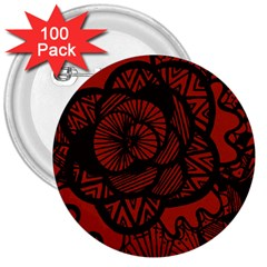 Background Abstract Red Black 3  Buttons (100 Pack)