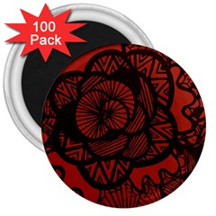 Background Abstract Red Black 3  Magnets (100 Pack)