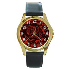 Background Abstract Red Black Round Gold Metal Watch