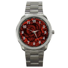 Background Abstract Red Black Sport Metal Watch
