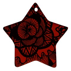 Background Abstract Red Black Star Ornament (two Sides)