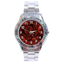 Background Abstract Red Black Stainless Steel Analogue Watch