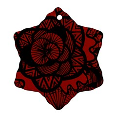 Background Abstract Red Black Snowflake Ornament (two Sides)