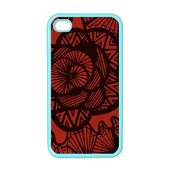 Background Abstract Red Black Apple Iphone 4 Case (color)