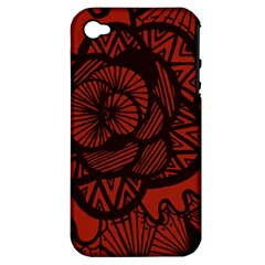 Background Abstract Red Black Apple Iphone 4/4s Hardshell Case (pc+silicone)