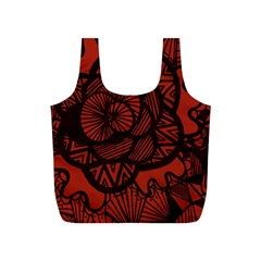 Background Abstract Red Black Full Print Recycle Bags (s)