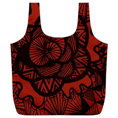 Background Abstract Red Black Full Print Recycle Bags (l)