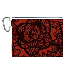 Background Abstract Red Black Canvas Cosmetic Bag (l)