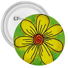 Flower Cartoon Painting Painted 3  Buttons