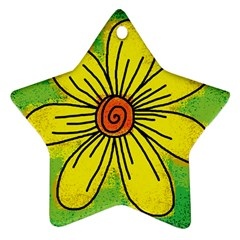 Flower Cartoon Painting Painted Ornament (star)