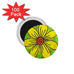 Flower Cartoon Painting Painted 1 75  Magnets (100 Pack)
