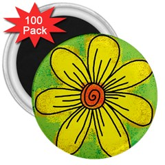 Flower Cartoon Painting Painted 3  Magnets (100 Pack)