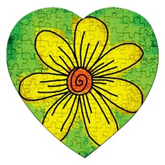 Flower Cartoon Painting Painted Jigsaw Puzzle (heart)