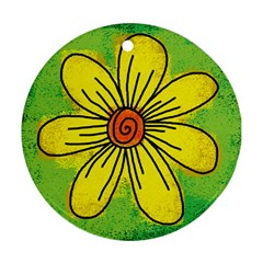 Flower Cartoon Painting Painted Round Ornament (two Sides)