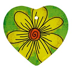 Flower Cartoon Painting Painted Heart Ornament (two Sides)