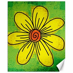 Flower Cartoon Painting Painted Canvas 16  X 20