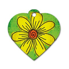 Flower Cartoon Painting Painted Dog Tag Heart (two Sides)