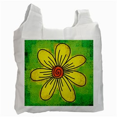 Flower Cartoon Painting Painted Recycle Bag (one Side)