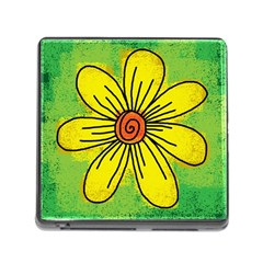 Flower Cartoon Painting Painted Memory Card Reader (square)