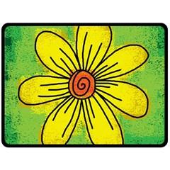 Flower Cartoon Painting Painted Fleece Blanket (large)