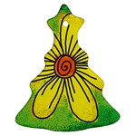 Flower Cartoon Painting Painted Ornament (Christmas Tree)  Front