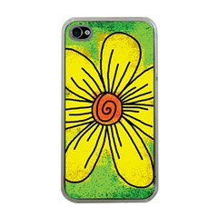 Flower Cartoon Painting Painted Apple Iphone 4 Case (clear)