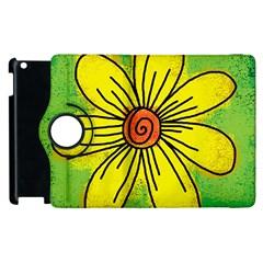 Flower Cartoon Painting Painted Apple Ipad 2 Flip 360 Case
