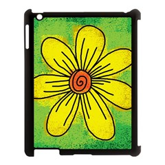 Flower Cartoon Painting Painted Apple Ipad 3/4 Case (black)