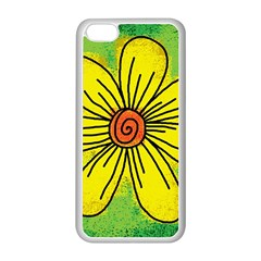 Flower Cartoon Painting Painted Apple Iphone 5c Seamless Case (white)