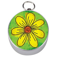 Flower Cartoon Painting Painted Silver Compasses