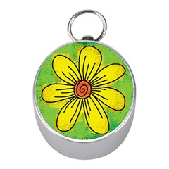 Flower Cartoon Painting Painted Mini Silver Compasses