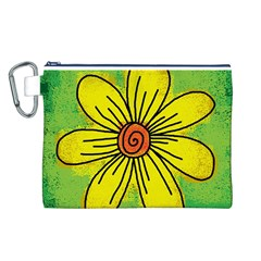 Flower Cartoon Painting Painted Canvas Cosmetic Bag (l)