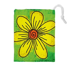 Flower Cartoon Painting Painted Drawstring Pouches (extra Large)