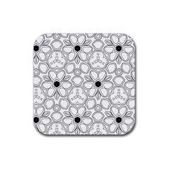 Pattern Zentangle Handdrawn Design Rubber Square Coaster (4 Pack)