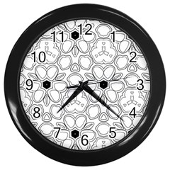 Pattern Zentangle Handdrawn Design Wall Clocks (black)