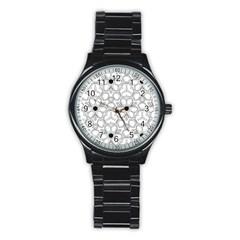 Pattern Zentangle Handdrawn Design Stainless Steel Round Watch