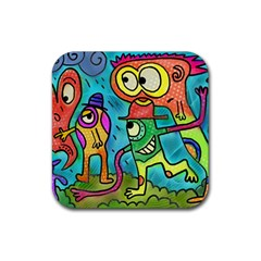 Painting Painted Ink Cartoon Rubber Square Coaster (4 Pack)