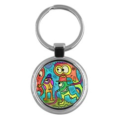 Painting Painted Ink Cartoon Key Chains (round)