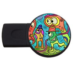 Painting Painted Ink Cartoon Usb Flash Drive Round (2 Gb)